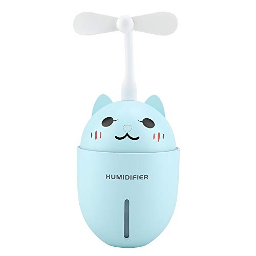 320ml Nachtlampje Luchtbevochtiger Luchtfilter, Ultrasone Geluidsarme Diffuser Luchtverfrisser Mini Ventilator voor Thuis Slaap Kantoorauto