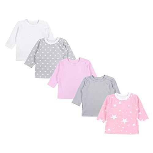 TupTam Baby Mädchen Langarmshirt Sterne 5er Pack, Farbe: Farbenmix 1, Größe: 80