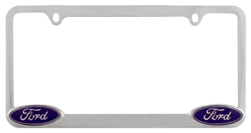 Bully WL021-C Chrome Ford License Plate Frame Holder Front or Back Bumper Shows Car Tags - Exterior Accessories for Trucks, Cars and SUVs - 1 Piece Genuine Licensed Product