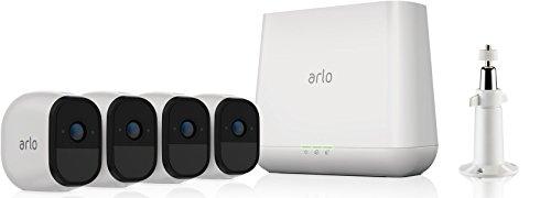 Arlo Pro Überwachungskamera & Alarmanlage, HD, 4er Set, Smart Home, kabellos, Innen / Aussen, Nachtsicht, Bewegungsmelder, 130 Grad Blickwinkel, WLAN, 2-Wege Audio, wetterfest, (VMS4430) - Weiß