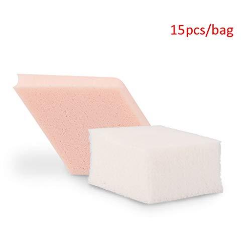 PIAOLING Coton Nettoyant Portable Forme de Diamant Bouffée BB Crème Fond de Teint Liquide Coton Beauté Coton Oeuf Beauté Outils Deux Usage 15 Comprimés/Sac Doux Confortable (Color : Pink/White)