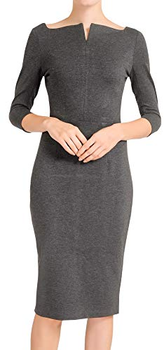 Marycrafts Women's Work Office Business Square Neck Sheath Midi Dress 14 Charcoal