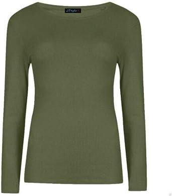 Camiseta elástica de cuello redondo, mangas largas, diseño liso para mujer, varios talles