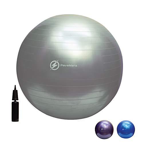 PavaMara fitball 55 65 75cm - Palla Fitness Pilates- Palla da Ginnastica in Palestra casa - Fisioterapia Schiena (Grigio, 65 cm)
