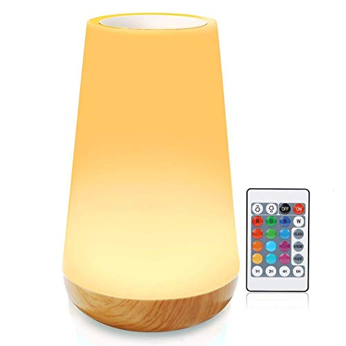 XGHC Lámpara de Mesa de Noche, LED Touch Control Noche con Temporizador de la Hora Función de Memoria Cambio de Color RGB Recargable Batería Interna para dormitorios Oficina de Sala de Estar 0427