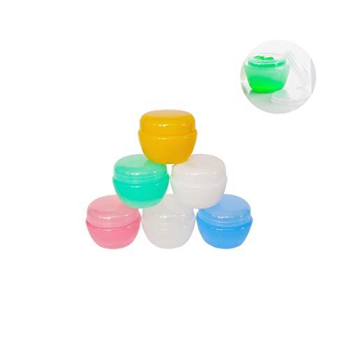 GreatforU 6 Stück 10 Gramm 10ml 10g Dosen Leere mit Deckel Transparente Kosmetikbehälter plastik Pot für Creme, lippenbalsam und Lotion, Lidschatten, Flaschen Behälter mit Free 6x Mini Spatulas Label