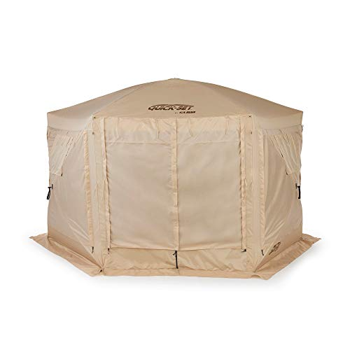Quick Set Pavilion Portable Pop Up Camping Outdoor Gazebo Canopy Shelter, Tan