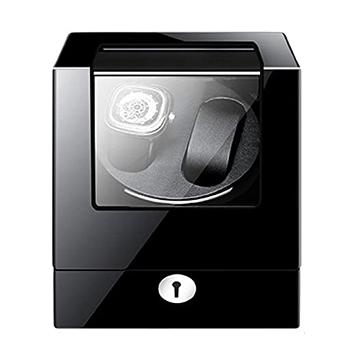 WBJLG Enrolladores de Reloj Enrollador de Reloj Doble Agitador automático de Reloj Fibra de Carbono Cuero Negro PU Extremadamente con Motor súper silencioso Ajuste de Modo de 4 rotación Diseño Ant