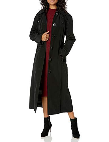 LONDON FOG Women's Long Single-Breasted Trench Coat, Black 6