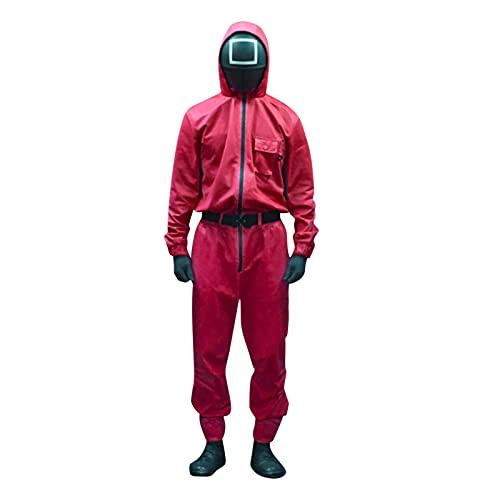 Juego de Calamar Mono Juego de Calamar Rojo Disfraz de Cosplay con máscara de Juego de Calamar 2021 TV Cosplay Mascarada Accesorios de Halloween (Mono + cinturón + Guantes, XS)