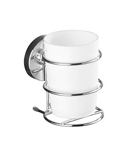 WENKO Vacuum-Loc Zahnputzbecher mit Halter Milazzo, Zahnbürstenhalter ohne bohren für das Bad, verchromtes Metall mit Kunststoffeinsatz in Weiß, 7,5 x 11,5 x 9,5 cm