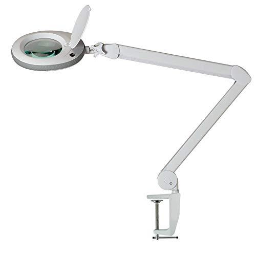Lumeno LED Lupenleuchte Lupenlampe Arbeitsplatzlampe Kosmetiklampe für Kosmetik Praxis Bastler Lesehilfe Vergrößerungslampe Lupe in 3, 5 oder 8 Dioptrien Grau 5 Dioptrien