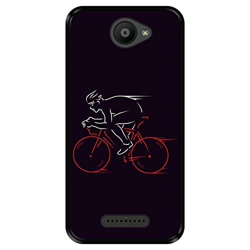 Hapdey Funda Negra para [ Bq Aquaris U - U Lite ] diseño [ Atleta, Ciclista en Bicicleta ] Carcasa Silicona Flexible TPU