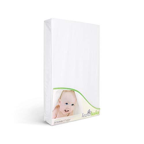 Laufgitter Jersey Spannbettlaken in Weiß von Koalala - 100x100 cm Baumwolle Laken Bettwäsche Spannbetttuch für Baby Laufstall Matratzen – Hypoallergen & Allergiker freundlich