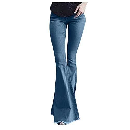 iYYVV Women Flare Jeans Button Waist Bell Bottom Wide Leg Denim Pants Long Trouser