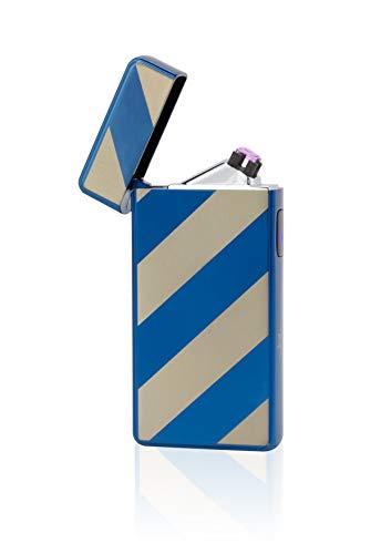 TESLA Lighter T13 Lichtbogen Feuerzeug, Plasma Double-Arc, elektronisch wiederaufladbar, aufladbar mit Strom per USB, ohne Gas und Benzin, mit Ladekabel, in edler Geschenkverpackung, Gestreift Blau