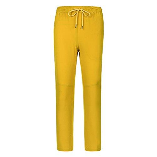 CIKRILAN Hommes Longues Outdoor Quick Dry Anti-UV Élastique Stretch Pantalon Léger Respirant Sports Trousers Voyage Camping Randonnée Pantalon (XXXXXX-Large, Jaune)
