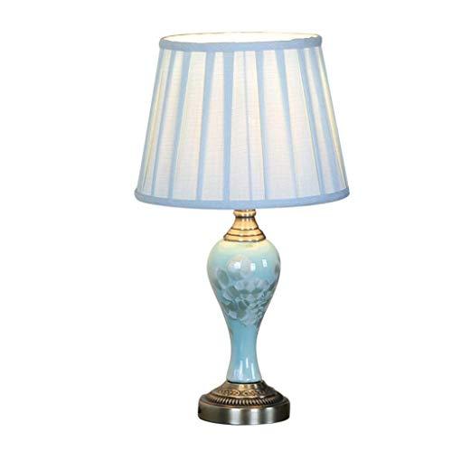 QND Lámpara de Mesa de Cerámica para Dormitorio Xzgang, Lámpara de Mesa con Base de Cromo con Estampado de Hoja de Loto en la Cintura E27 4 Estilos H: 52Cm Lámpara de Mesa Luces Decorativas Cálidas Y