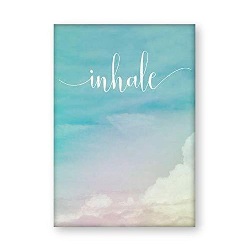 Póster HAIBAOSMS Inhale Exhale Cartel Motivacional Yoga Meditación Impresiones Decoración Para El Hogar Arte Zen Respirar Lienzo Pintura Pilates Wall Pictures 20X27Inch(50X70Cm)