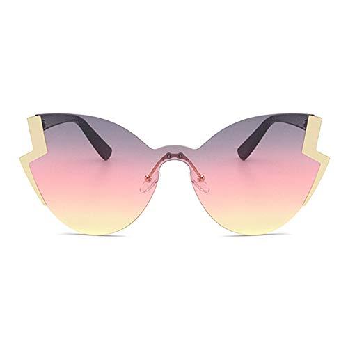 WHSS gafas de sol Metal Personalidad Gafas De Sol Señoras Retro Cat Eye Europa Y Estados Unidos Tendencia Moda Oro Marco Color Lens
