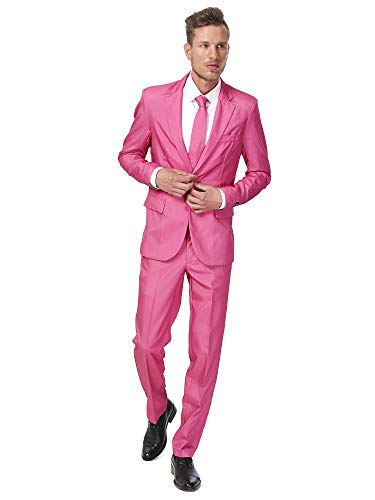 Suitmeister Solid Colored Suits in Pink - Includes Jacket, Pants & Tie - 2XL