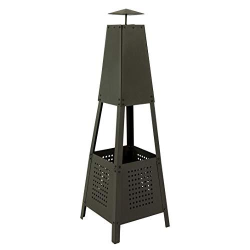 MaxxGarden Gartenkamin Pyramide - Gartenofen, Feuerstelle, Stahlgitter, Terrassenofen - schwarz - 100 cm