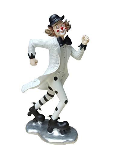 Oberle Dekofigur Clown auf Rollschuhen schwarz weiß 23,5 cm Figur Karneval Köln Harlekin