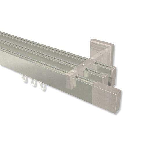 INTERDECO eckige Innenlauf Gardinenstange Edelstahl Optik 3-läufig Smartline Lox, 100 cm