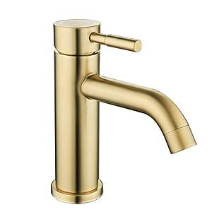 Grifo mezclador monomando de acero inoxidable para lavabo de baño GAPPO, dorado