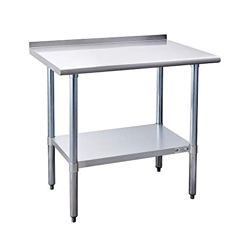 Hally Stainless Steel Table for Prep & Work 24 x 30 Inches, NSF Commercial Heavy Duty Table with Undershelf and Backsplash for Restaurant, Home and Hotel