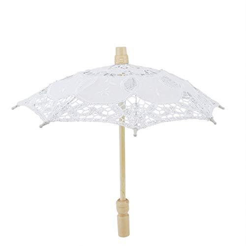 Omabeta Paraguas de Encaje de Boda Paraguas de Encaje de Novia Parasol Hecho a Mano Sombrilla de Encaje con Forma de cúpula Transparente Paraguas Blanco Fiesta de Boda(Blanco)