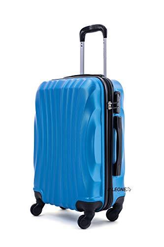 R.Leone Valigia Trolley Bagaglio a mano Rigido Ultraleggero in ABS 4 Ruote Autonome 20264 (Azzurro, 2037 Valigia 52x32x19cm)