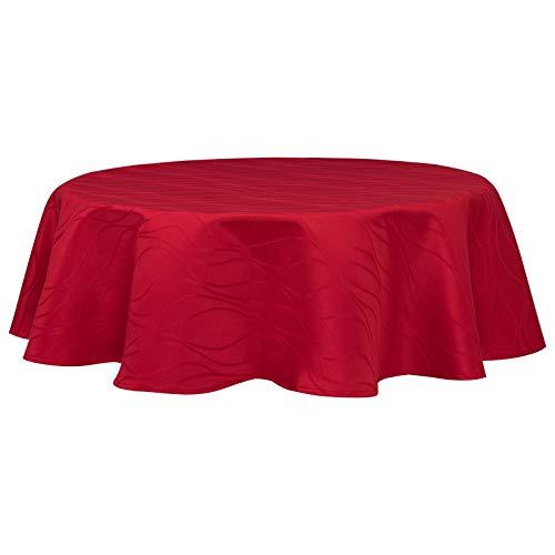 EUGAD Tischdecke Damast Streifen Wellen Design mit Saum, Tafeldecke Abwaschbar Bügelfrei, Größe und Farbe wählbar, Rund 140 cm Bordeaux