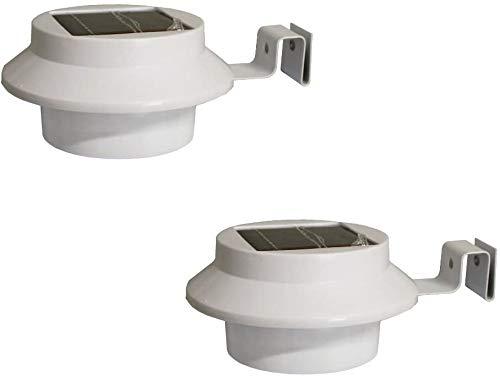 2er Set Dachrinnenleuchte Dachrinnenlampe LED Solarlampe für Dachrinnen Außenlampe Leuchte Wandlampe Solar mit 3 LED