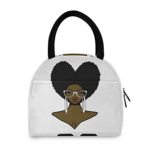 Beautiful African Black woman Afro Hairstyle Sunglasses and Earrings Insulated Lunch Tote Bag, Thermal Reusable Cooler Lunch Bag Box Portable Handbag for Picnic School Travel Work Office