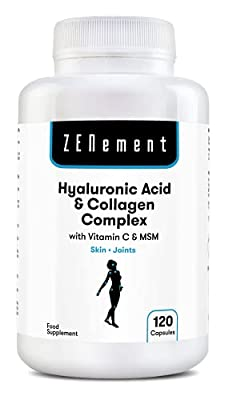 Hyaluronic Acid & Collagen Complex with Vitamin C & MSM, 120 Capsules, for a healthy and youthful appearance, as well as joint lubrication, function and comfort | 100% Natural, Non-GMO
