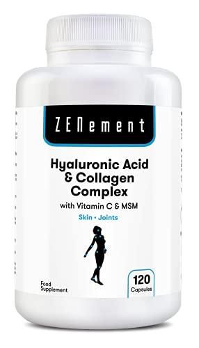 Ácido Hialurónico y Colágeno Complex con MSM y Vitamina C, 120 cápsulas, para combatir los efectos de la edad y tener una piel y articulaciones fuertes y saludables, No GMO, 100% Natural