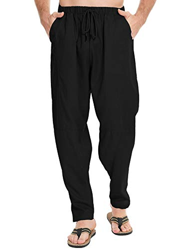 LecGee Men's Cotton Linen Yoga Pant Elastic Waist Drawstring Loose Fit Baggy Harem Pants