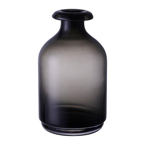 IKEA ATGANG Vase in grau; aus Glas; mundgeblasen; (18cm)