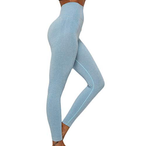 WOZOW Pantalon Pure Color Hip Lifting Seamless Elasticity Running Yoga Pants Gym Leggings Power Stretch Taille Haute Femmes en Cours D'exécution D'entraînement(Bleu Clair,M)