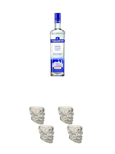 Parliament Vodka 1,0 Liter + Wodka Totenkopf Shotglas 2 Stück + Wodka Totenkopf Shotglas 2 Stück
