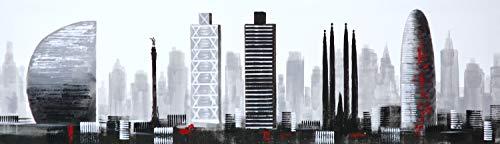 Cuadro Pintado Ciudad de Barcelona 120x35 cm, Moderno, en Blanco y Negro y Detalles en Rojo. 100% Original, sobre Lienzo.