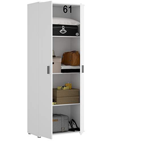 HABITMOBEL Armario Oficina Blanco Multiusos 2 Puertas. Medidas: Alto 190cm. Ancho 61cm. Fondo 35cm.