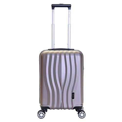 Karabar Hard Shell Cabin Carry-on Hand Luggage Suitcase Bag 55 cm 2.5 kg 35 litres 4 Spinner Wheels TSA Number Lock, Dune Champagne