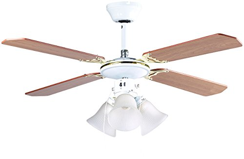 Sichler Haushaltsgeräte Ventilatorlampe: Deckenventilator VT-696 mit Holzflügeln und Beleuchtung, Ø 105 cm (Deckenleuchte mit Ventilator)