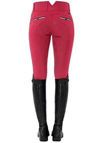 SPOOKS Damen Reitleggins Reithose Vollbesatz, Damenreithose Reithosen Turnierreithose Vollbesatzreithose - Ricarda Light Full Grip High Waist - Dark pink XS