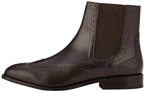 find. Leather Brogue Botas Chelsea, Marrón Chocolate, 37 EU