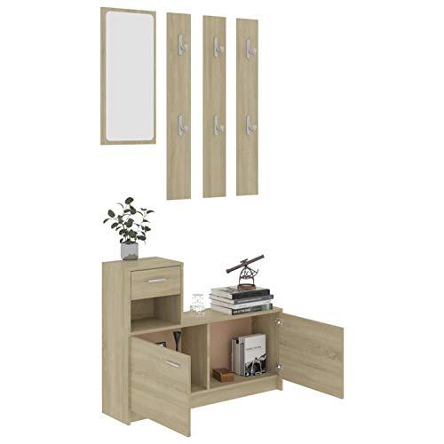 WooDlan Recibidor | Mueble de Entrada | Juego de Muebles de recibidor con Espejo + Percha de Pared, Acabado en Color Roble Sonoma, Medidas: 100x25x76,5 cm