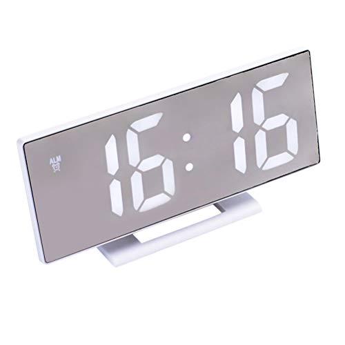 VOSAREA Spiegel-Wecker mit großer Led-Anzeige Weiß Fett Digitale Ziffern Tischuhr Snooze-Uhr Einfache Bedienung Batterien Angetrieben