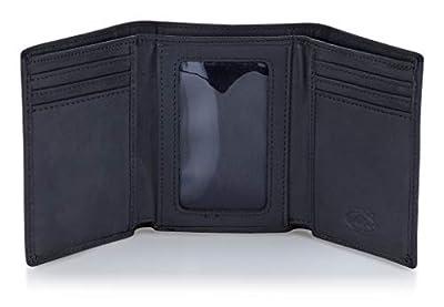 Stealth Mode Trifold RFID Blocking Leather Wallet for Men (Black)